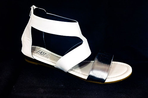 EASY USA White/Silver Sandals