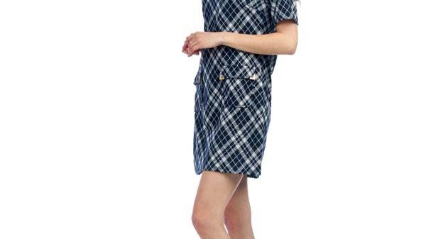 Plaid 3/4 Sleeve Sweater Dress with Pockets Papillon