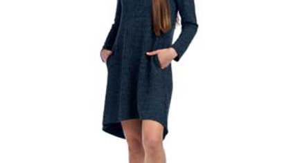 Ribbed Mock Neck High Low Sweater Dress with Pockets Papillon
