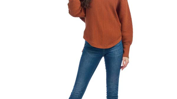 Ribbed Knit Sweater with Cowl Neck