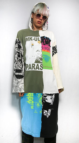 MK ULTRA HOODED PATCHWORK DRESS
