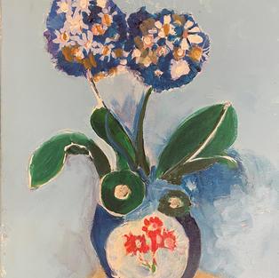 Make it blue_ flower, vase, backdrop