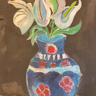 Blue vase with white flora