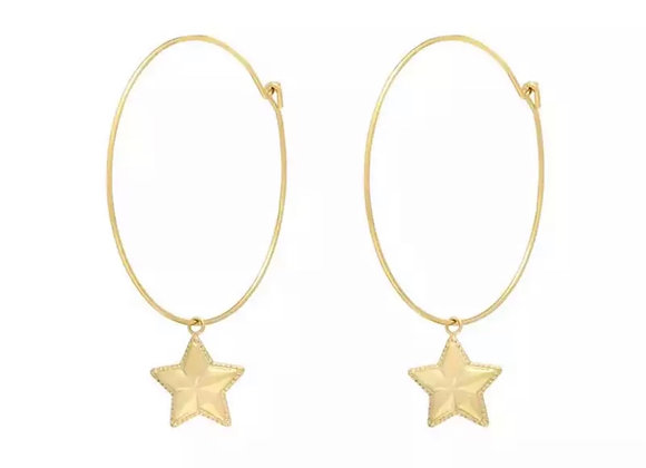 Simple Star Hoops Gold