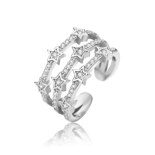 3 Row Star Ring (Resizable) Silver