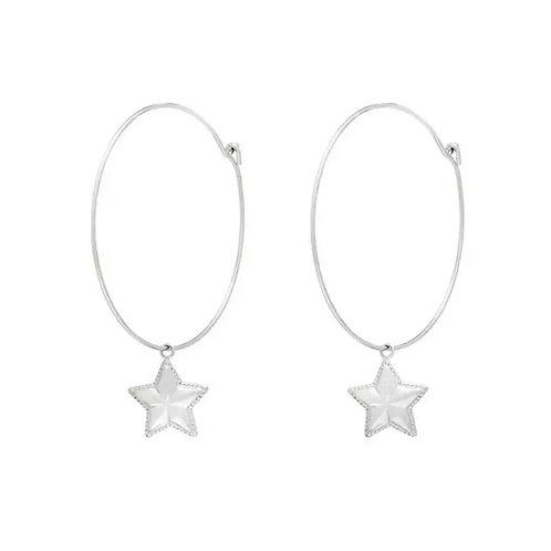 Simple Star Hoops Silver