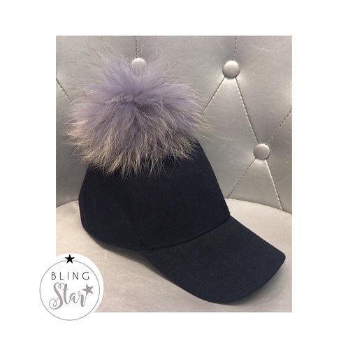 Black & Grey Pom Cap