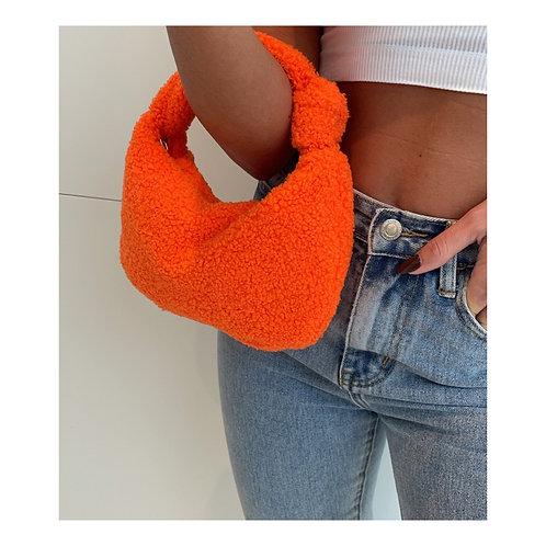Teddy Knot Baguette Bag Orange