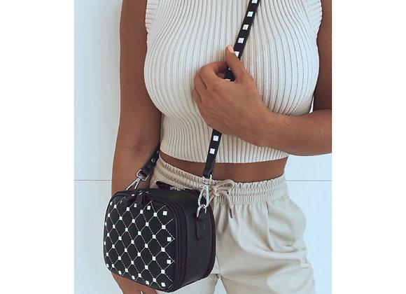 Venice Studded Box Bag Black & White