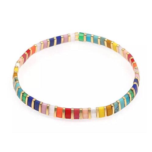 Rainbow Stone Stretch Bracelet