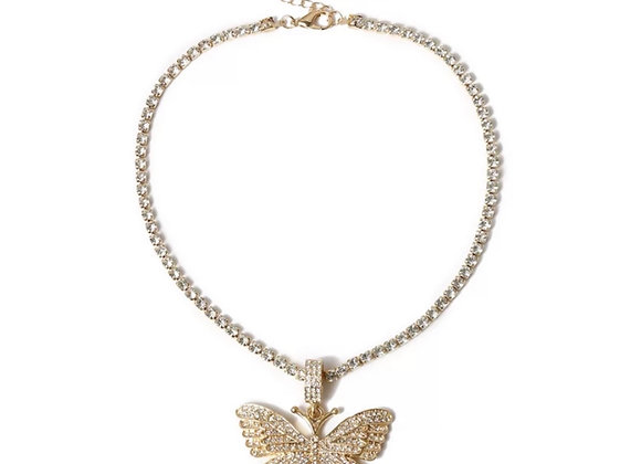 Float Diamanté Butterfly Necklace Gold