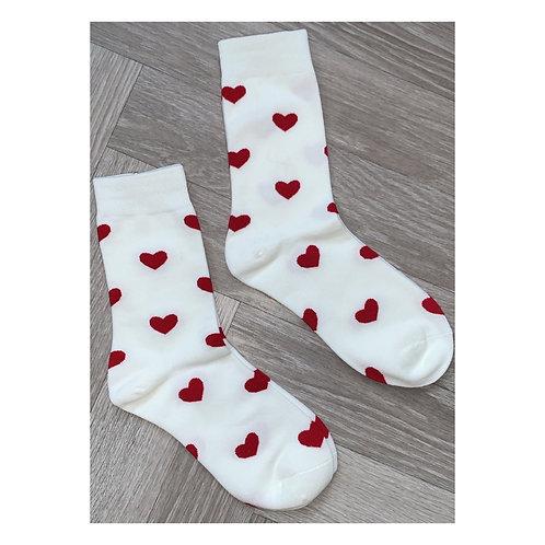Heart Socks Red & Off White