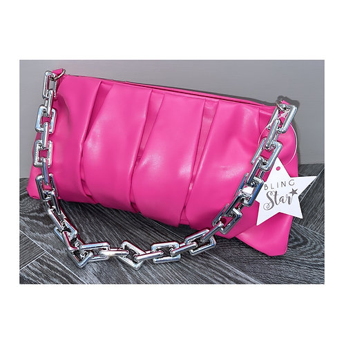 Monica Silver Chunky Chain Pouch