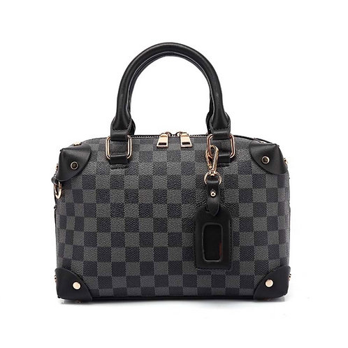 Camilla Chequer Box Bag Black
