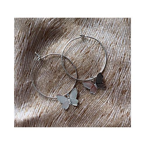 Butterfly Hoops Silver