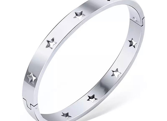 Luxe Star Cut Out Bangle Silver