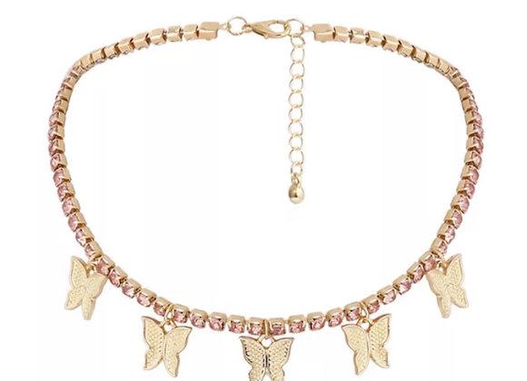 Float Diamanté Butterfly Chocker Pink