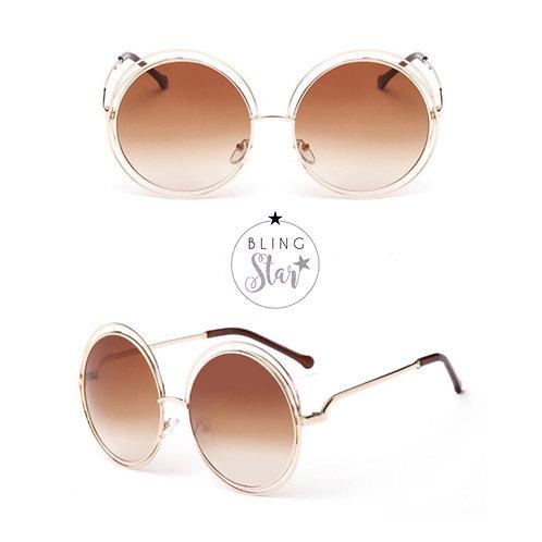 Mollie Round Sunglasses Brown