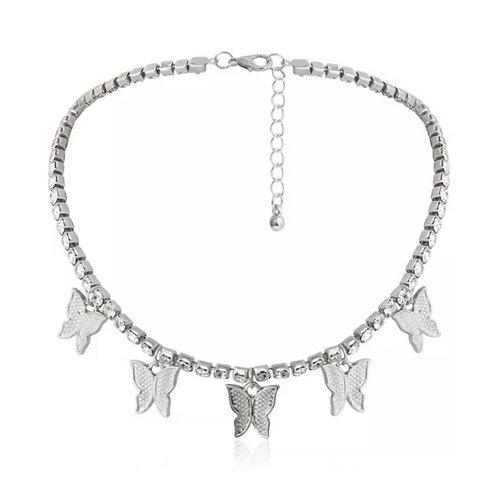 Float Diamanté Butterfly Chocker Silver