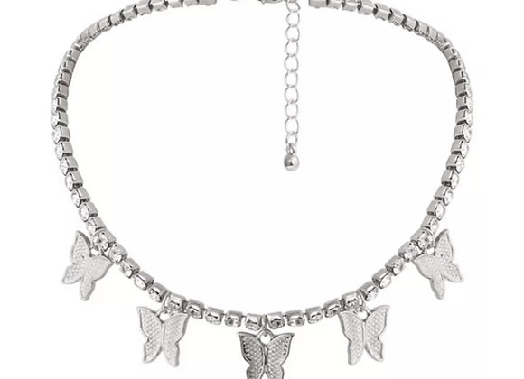 Float Diamanté Butterfly Chocker Silver