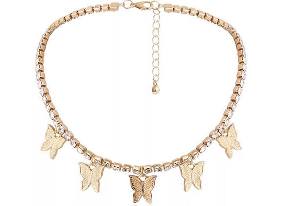 Float Diamanté Butterfly Chocker Gold