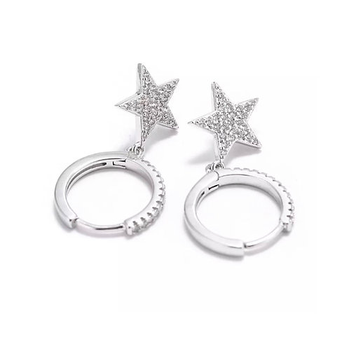 Star Charm Small Hoop Silver