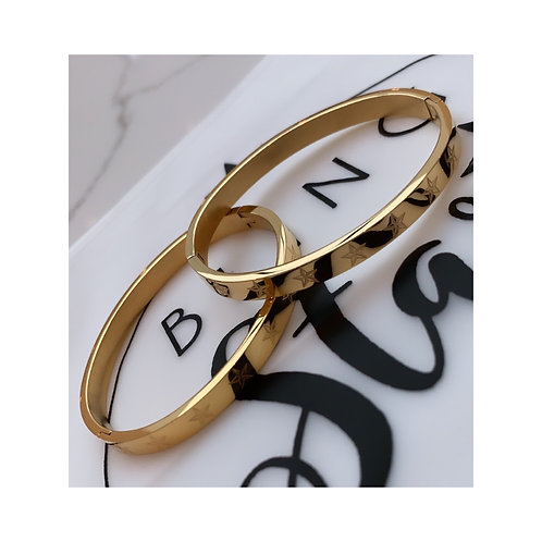 Star Printed Luxe Bangle Gold