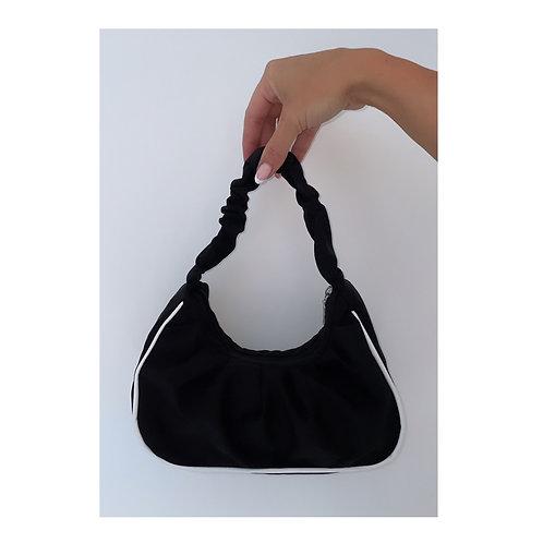 Sports Luxe Ruffle Handbag Black