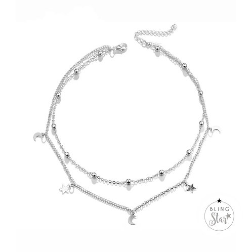 Star & Moon Double Layer Chain Silver