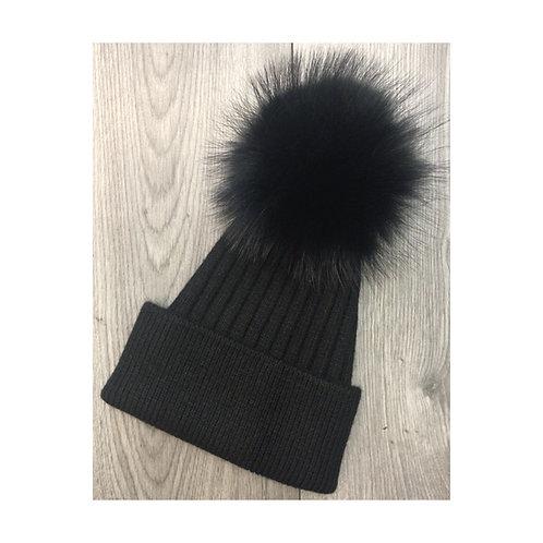 Wool & Cashmere Beanie Black