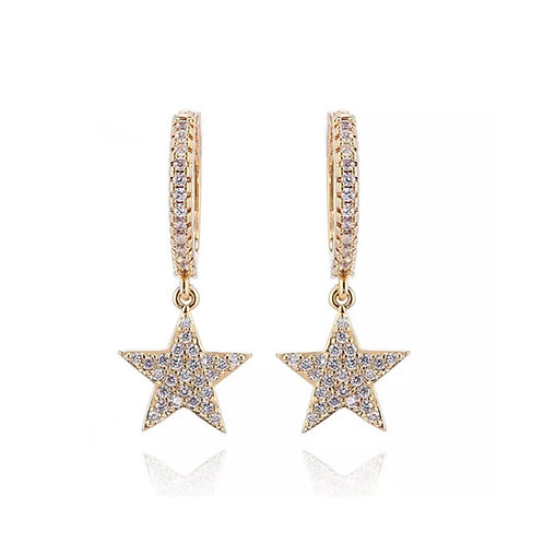 Star Charm Small Hoop Gold