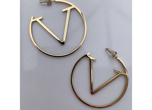 V Gold Hoops