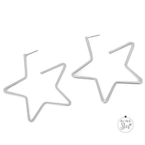 Cut Out Star Earrings Silver