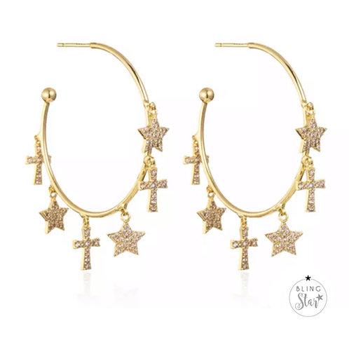Star & Cross Charm Hoops Gold