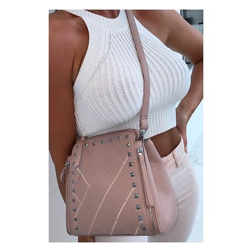 Fifi Studded Across Body Bag Nude/Pink