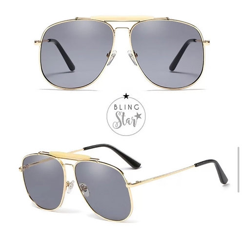 Khloe Aviators Black & Gold