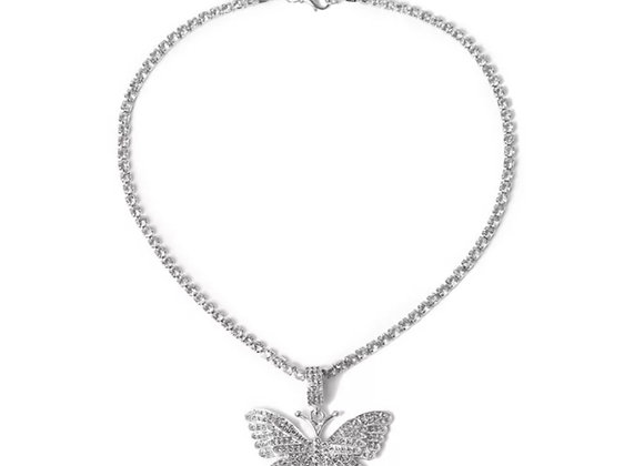 Float Diamanté Butterfly Necklace Silver