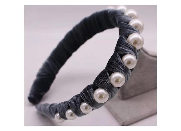 Sofia Velvet Wrapped Pearl Headband Grey