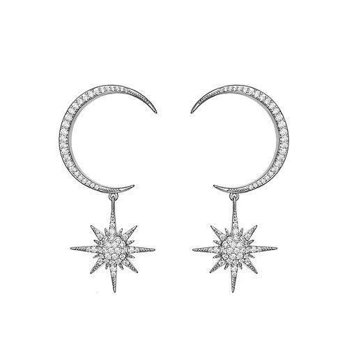 Crescent Diamanté Earrings Silver