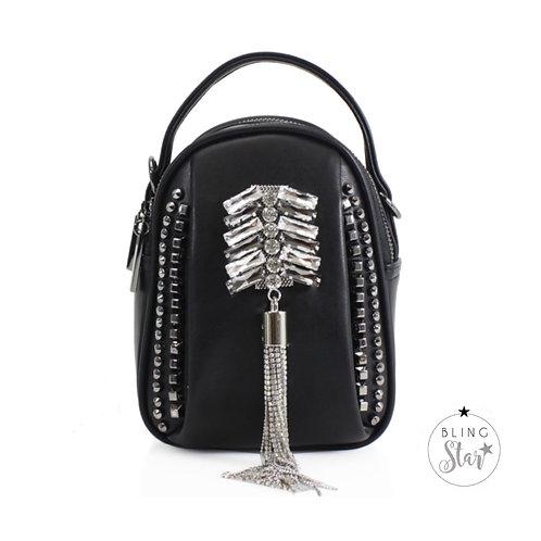 Rhianna Diamond Tassle Bag Black