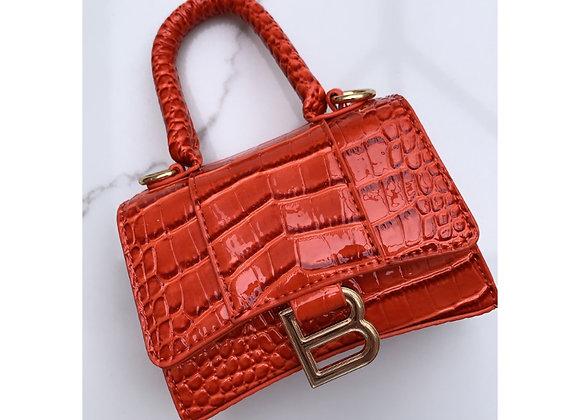 New B Mini Croc Handbag Orange