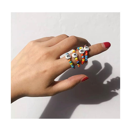 Rainbow L•O•V•E Ring Set