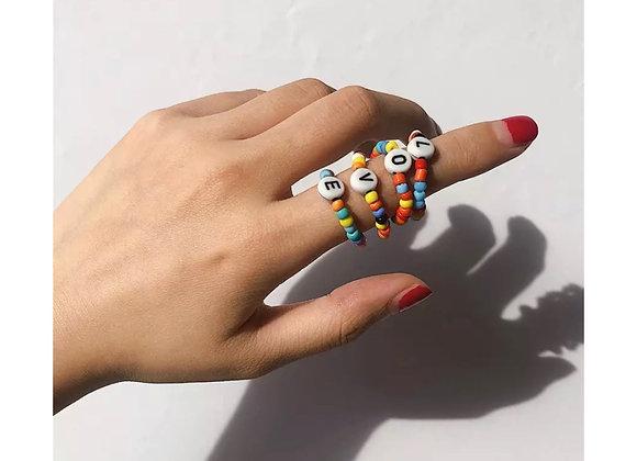 Rainbow L•O•V•E Ring Set