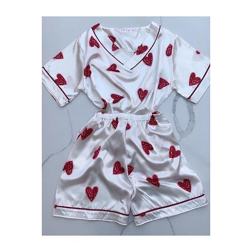 V Neck Heart Silk Short Set