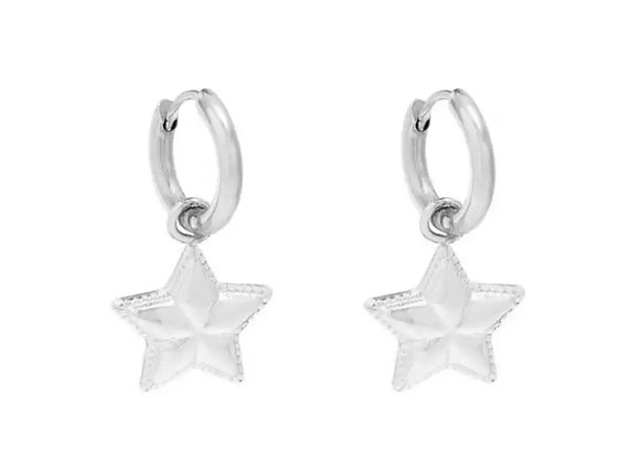 Small Simple Star Hoops Silver