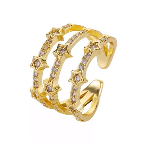 3 Row Star Ring (Resizable) Gold