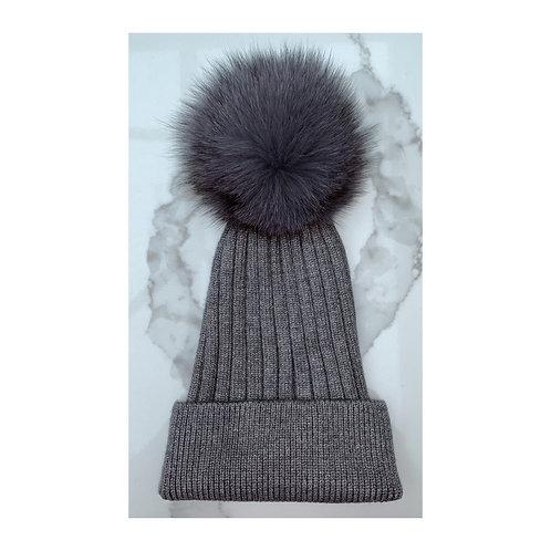 Grey Fur Pom Pom Beanie