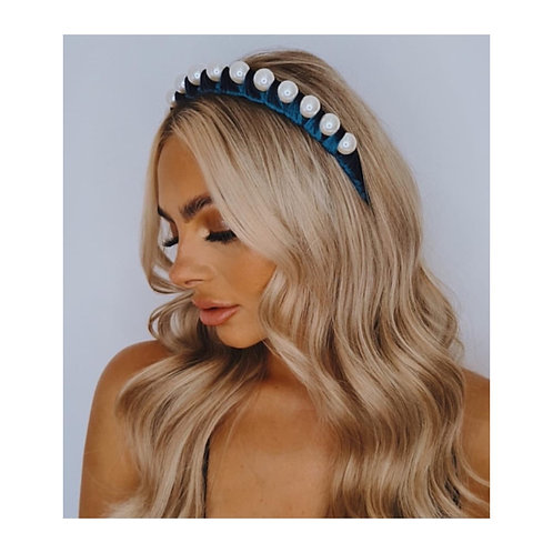 Sofia Velvet Wrapped Pearl Headband Blue
