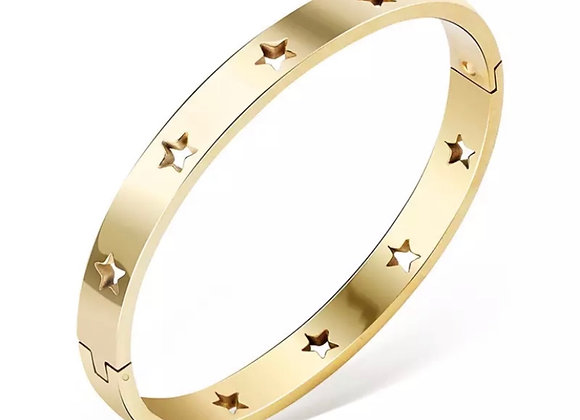Luxe Star Cut Out Bangle Gold