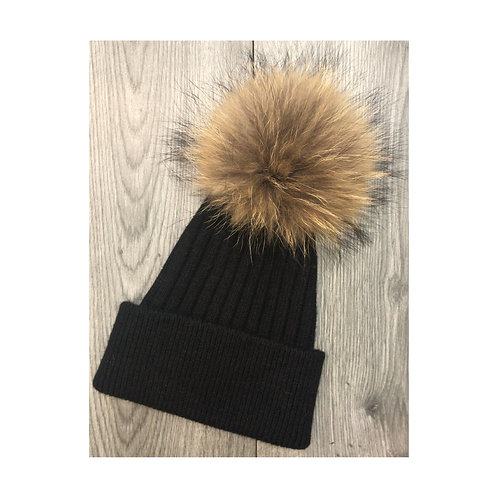 Wool & Cashmere Beanie Black/Natural